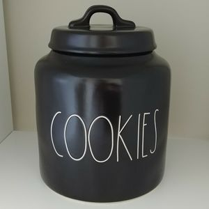 Rae Dunn solid Black Ceramic Cookie Jar Canister